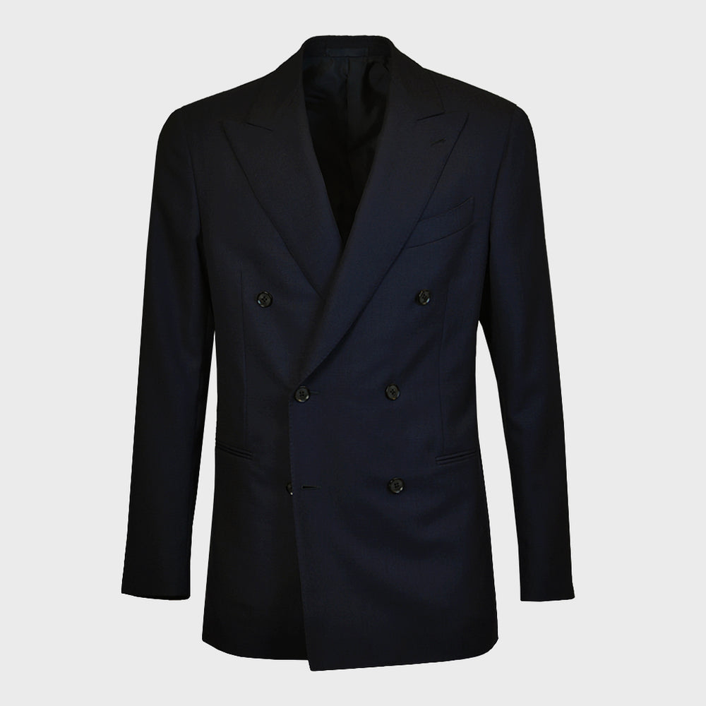Caruso Men's Jacket Wool Double Breasted | Navy Blue