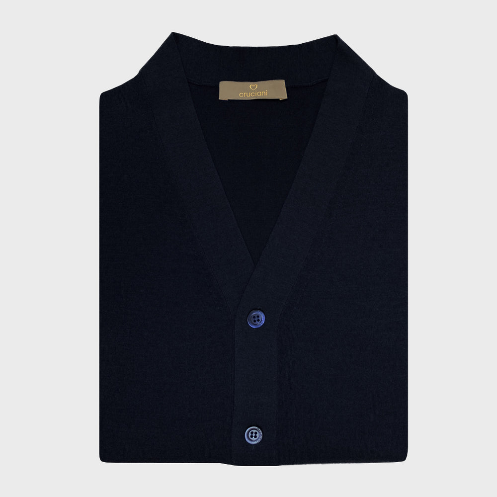 Cruciani | Men's Cardigan Cashmere & Silk | Night Blu