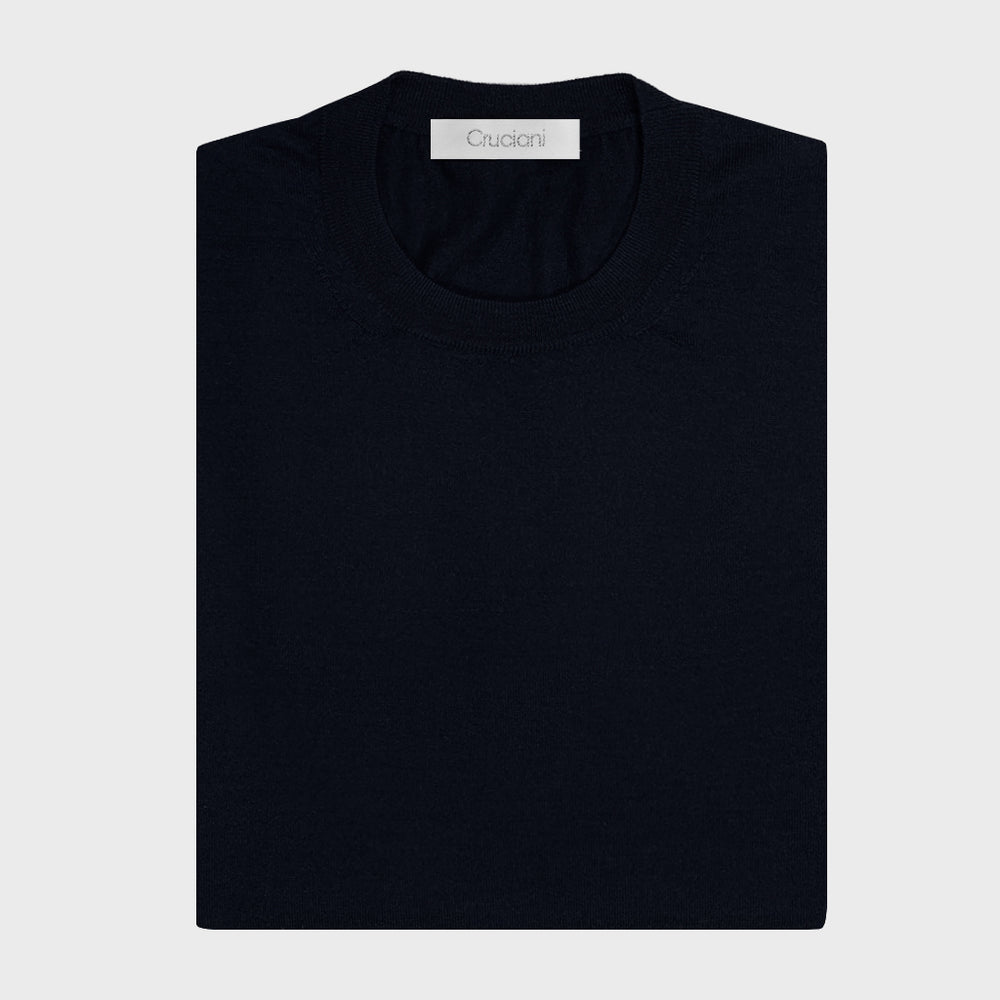 Cruciani | Men's Crewneck Sweater Cashmere & Silk | Night Blu