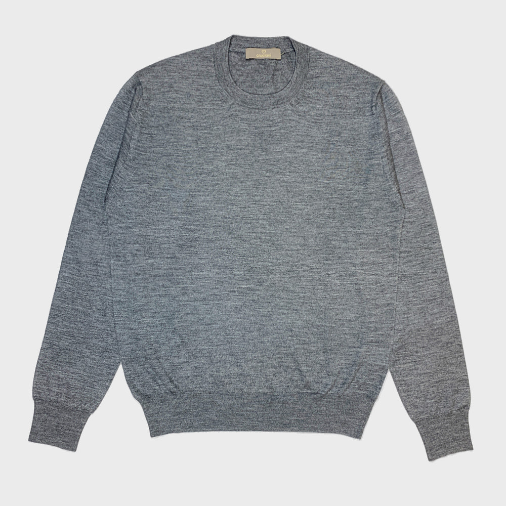 Cruciani | Men's Crewneck Sweater Cashmere & Silk | Grey