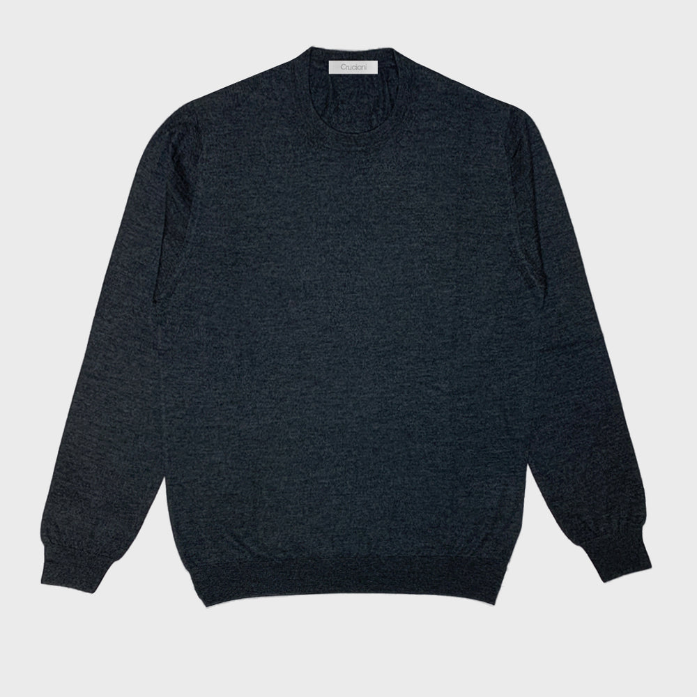 Cruciani Men's Crewneck Sweater Cashmere & Silk Grey London