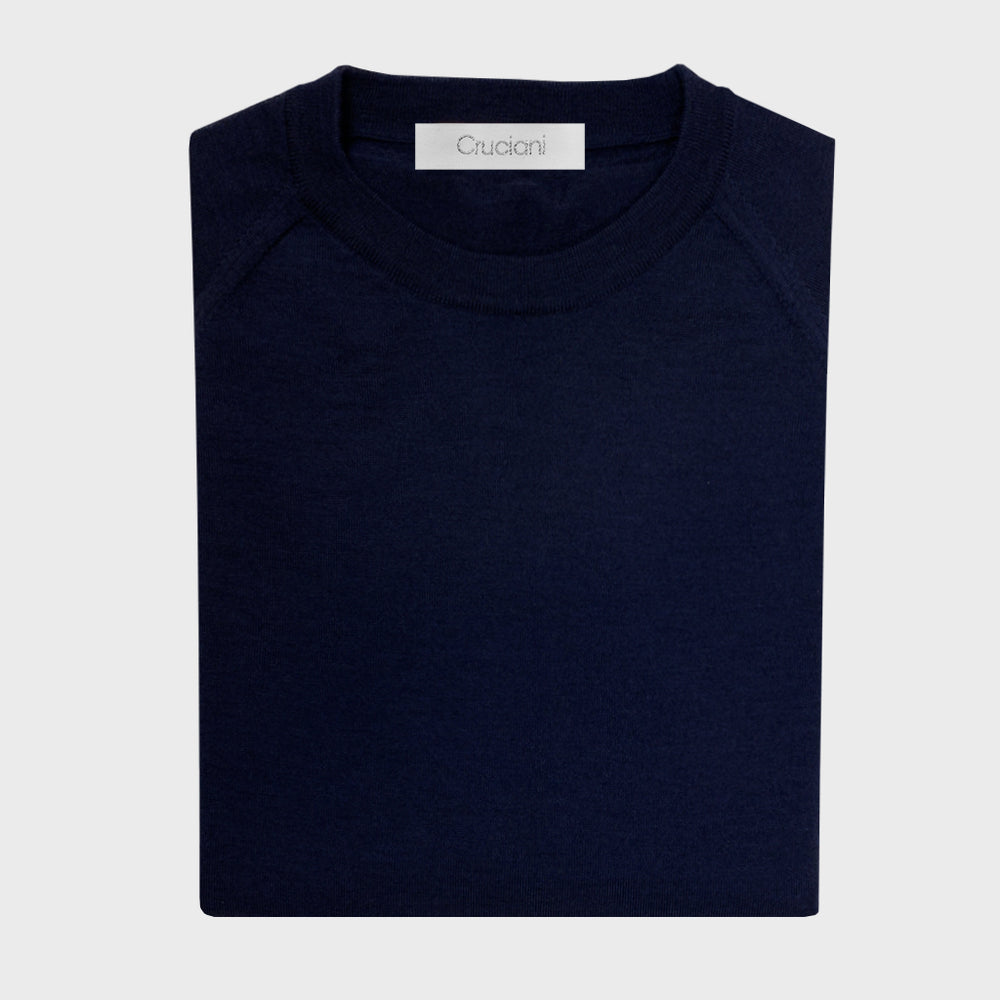 Cruciani | Men's Wool Sweater Crewneck Raglan Sleeve | Blu