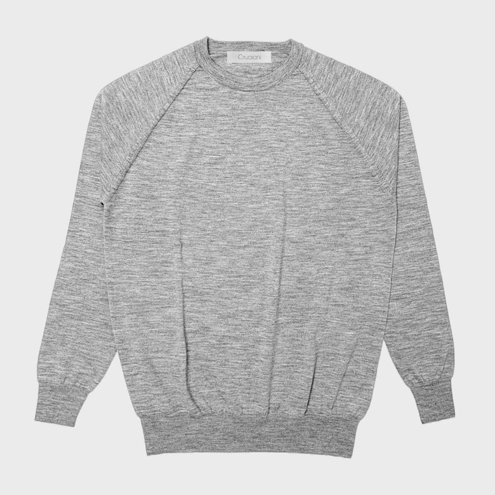 Cruciani | Men's Wool Sweater Crewneck Raglan Sleeve | Grey