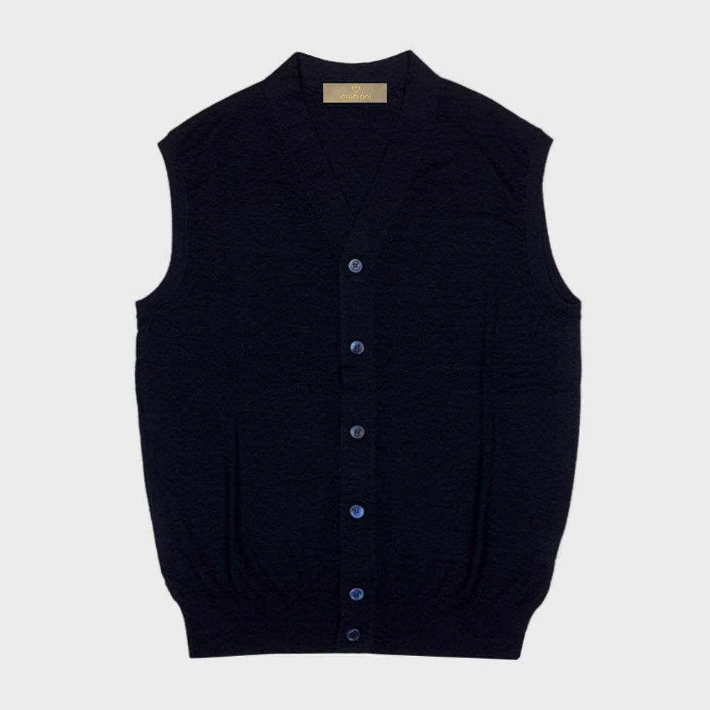 Cruciani | Men's Cashmere & Silk Vests | Night Blu