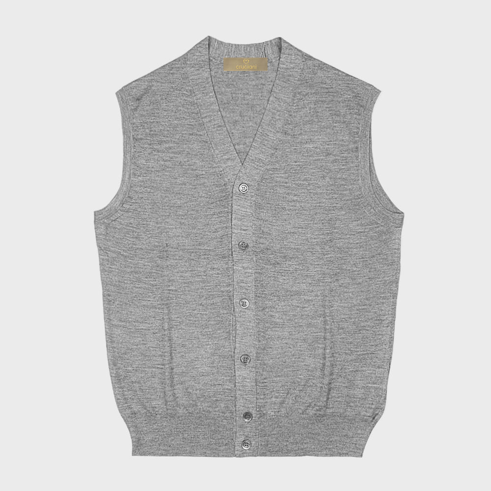 Cruciani | Men's Cashmere & Silk Vests | Grey