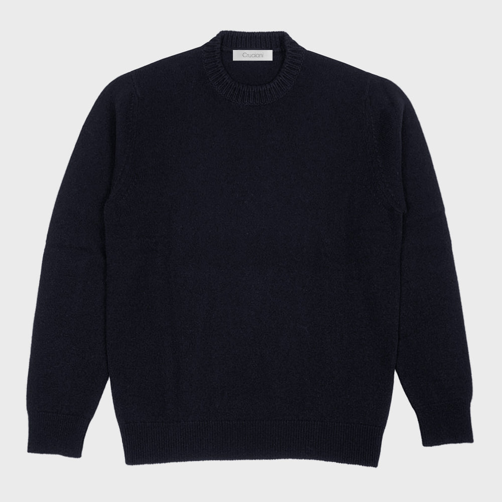 Cruciani | Men's Ribbed Trims Crewneck Cashmere Jumper | Night Blu