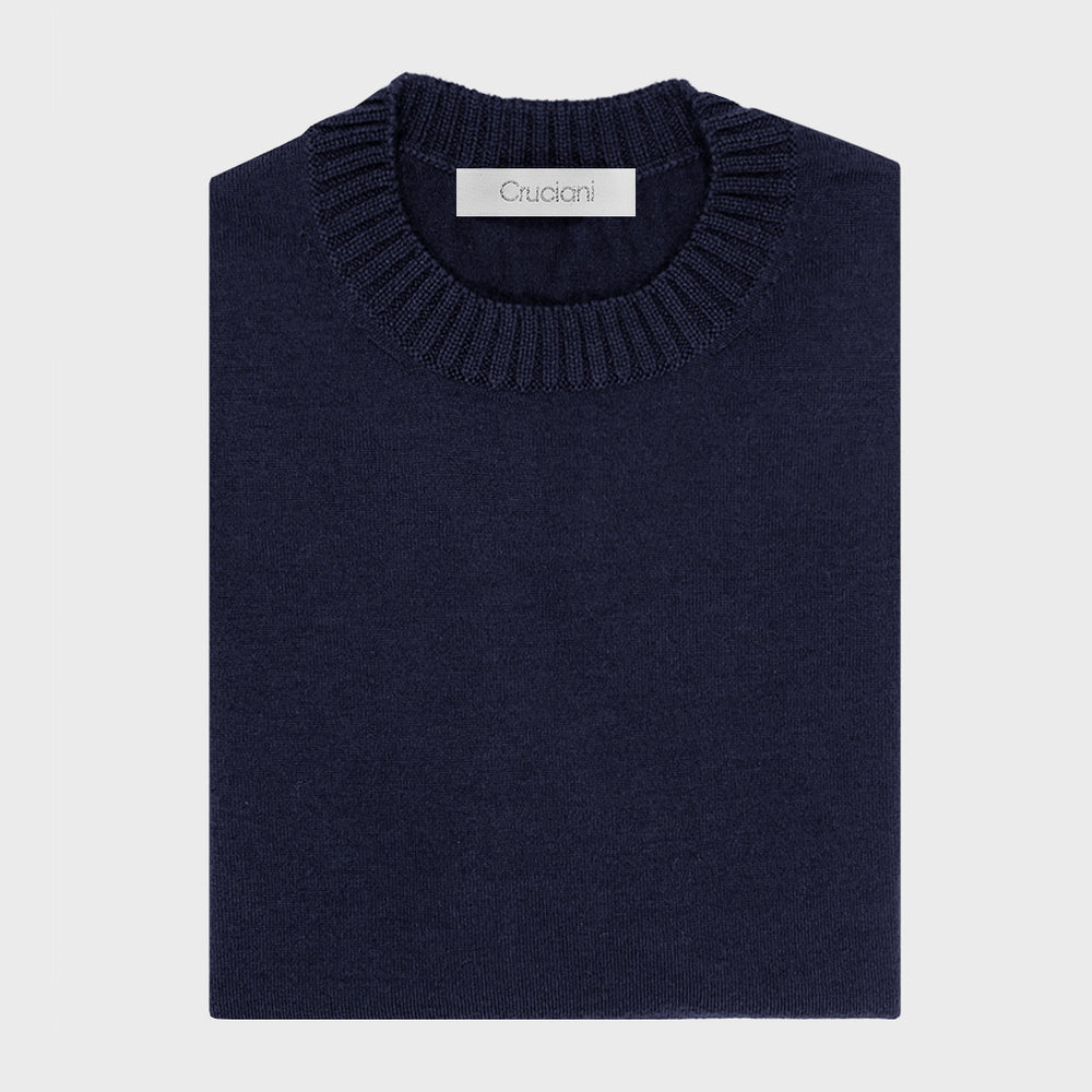 Cruciani | Men's Ribbed Trims Crewneck Wool Jumper | Navy Blu