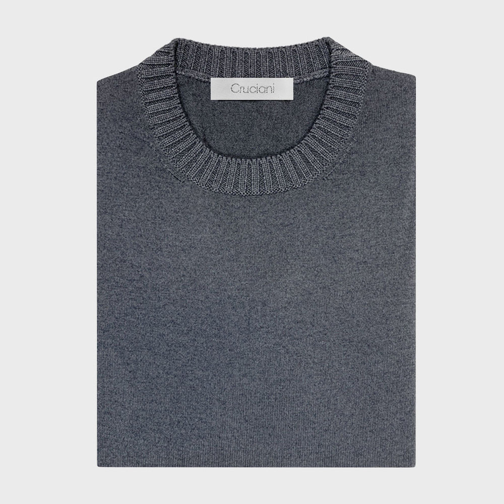Cruciani | Men's Ribbed Trims Crewneck Wool Jumper | Iron Grey