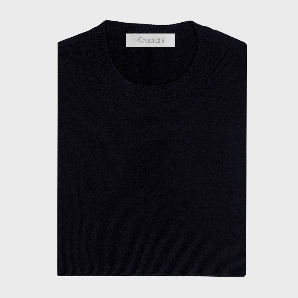 Cruciani | Men's Crewneck Wool Jumper | Dark Blu