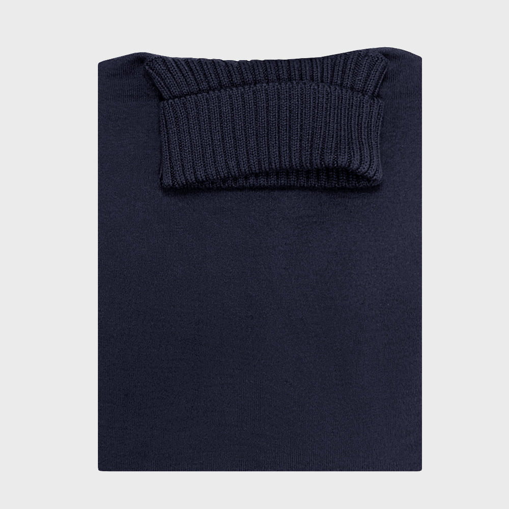 Cruciani | Men's Ribbed Trims Turtleneck Wool Jumper | Navy Blu