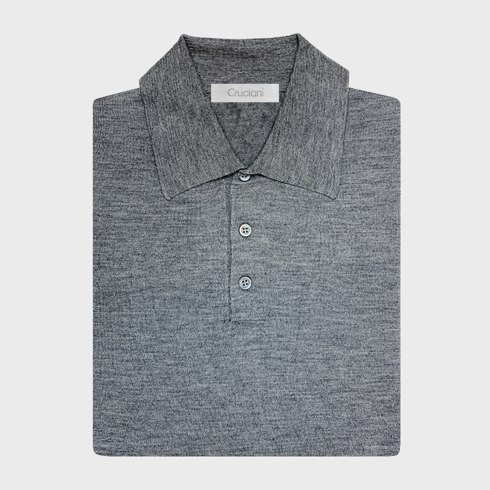 Cruciani | Men's Polo Cashmere & Silk | Grey