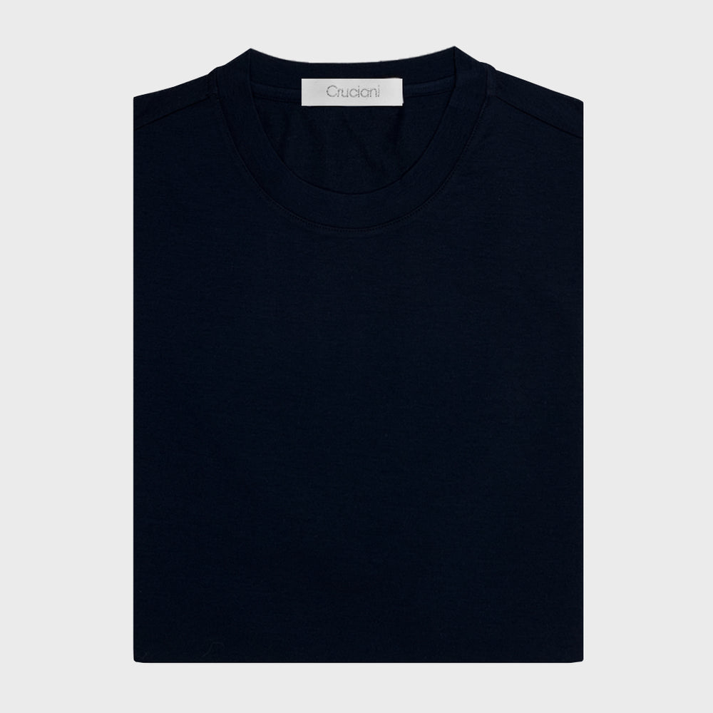 Cruciani | Men's T-Shirt Ossigeno Cotton Long Sleeve | Blu