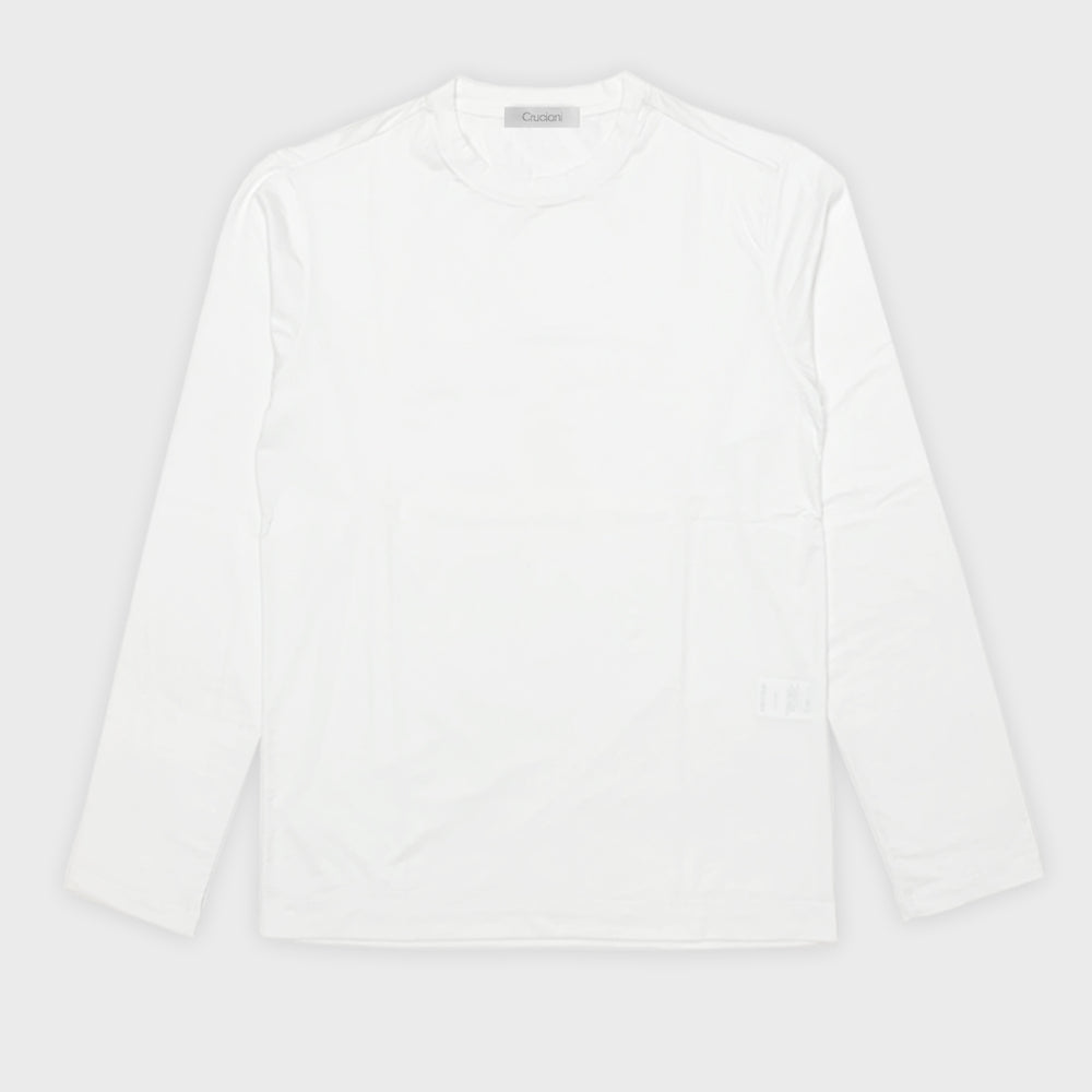 Cruciani Men's T-Shirt Ossigeno Cotton Long Sleeve White