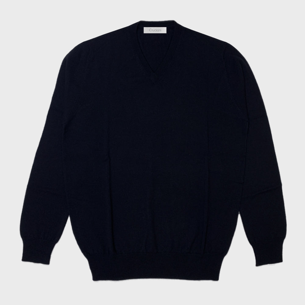 Cruciani | Men's V-neck Sweater Cashmere & Silk | Night Blu
