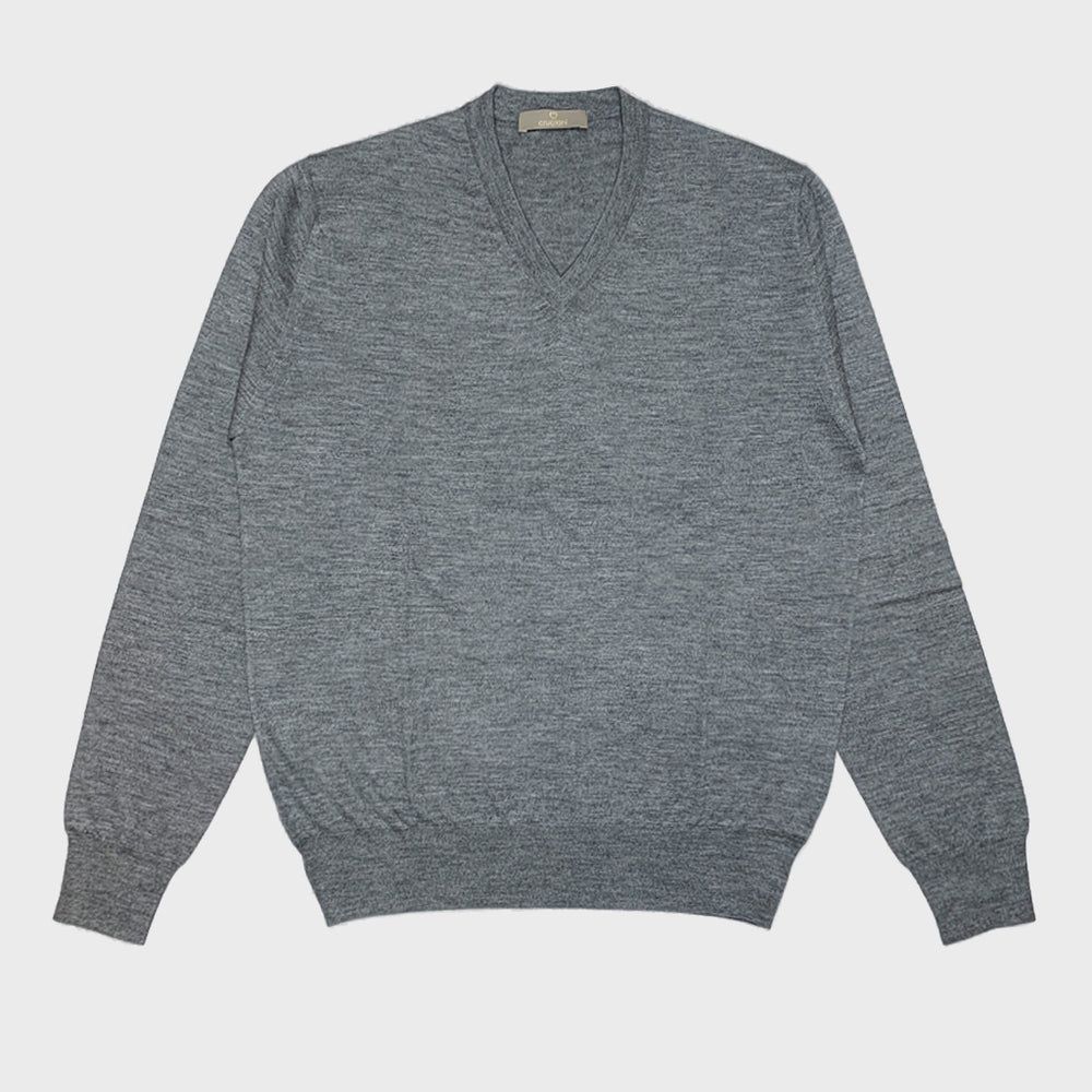 Cruciani | Men's V-neck Sweater Cashmere & Silk | Grey