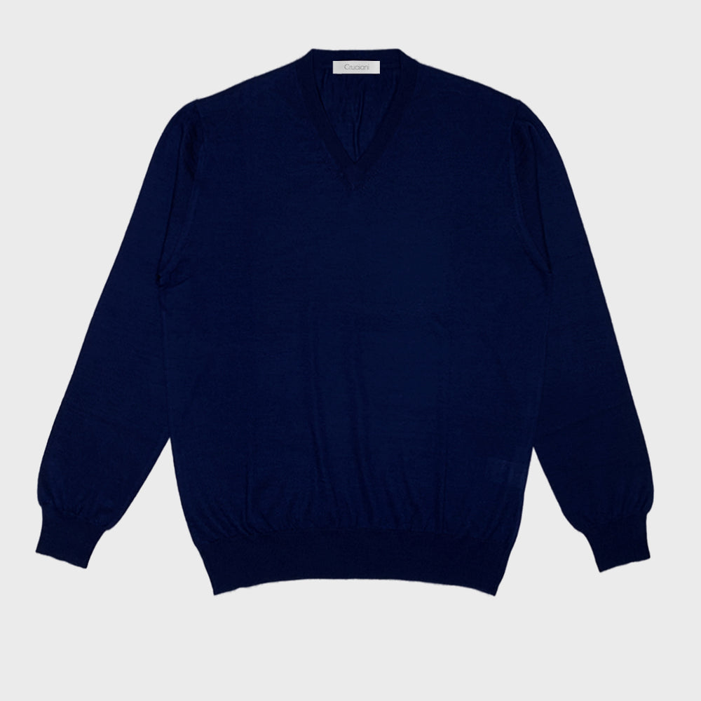 Cruciani | Men's V-neck Sweater Cashmere & Silk | Blu Marino