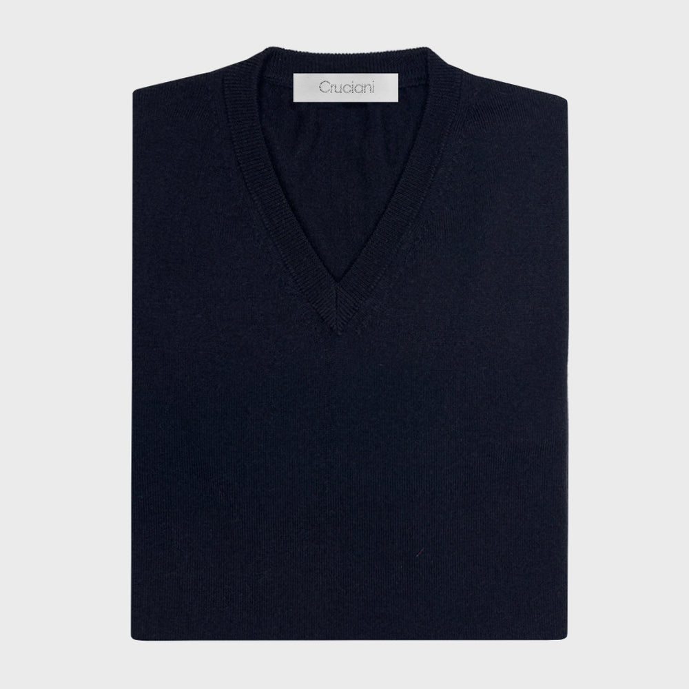 Cruciani | Men's V-neck Sweater Wool Merino | Blu
