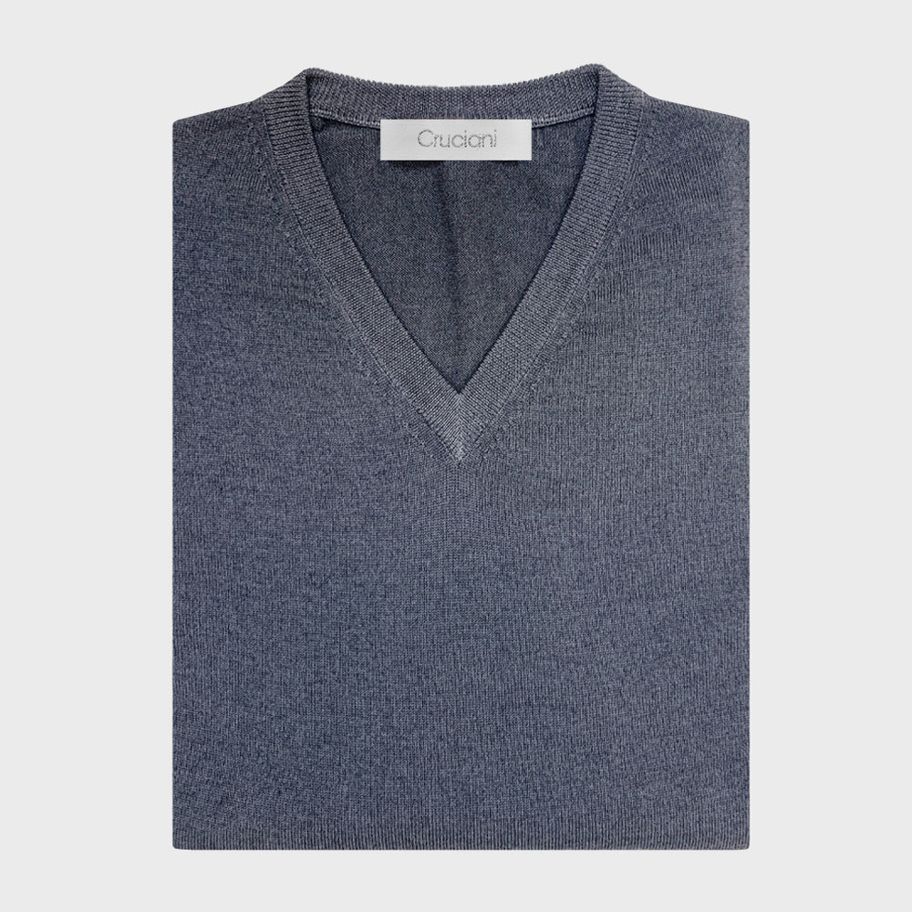 Cruciani | Men's V-neck Sweater Wool Merino | Grey