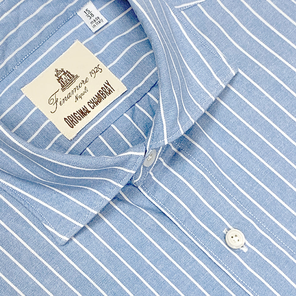 Finamore Cotton Shirt Tokio Original Chambray Pinstripe Light Blue