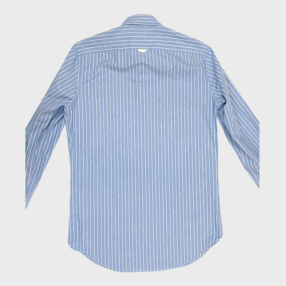 Finamore Men's Shirt Chambray Cotton | Pinstripe Light Blue