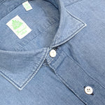 Finamore Cotton & Linen Shirt Tokio Denim Light Blue