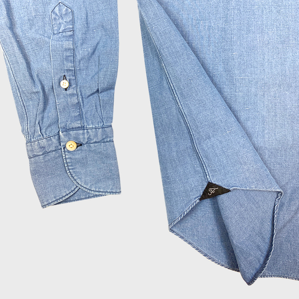 Finamore Cotton & Linen Shirt Tokio | Denim Light Blue