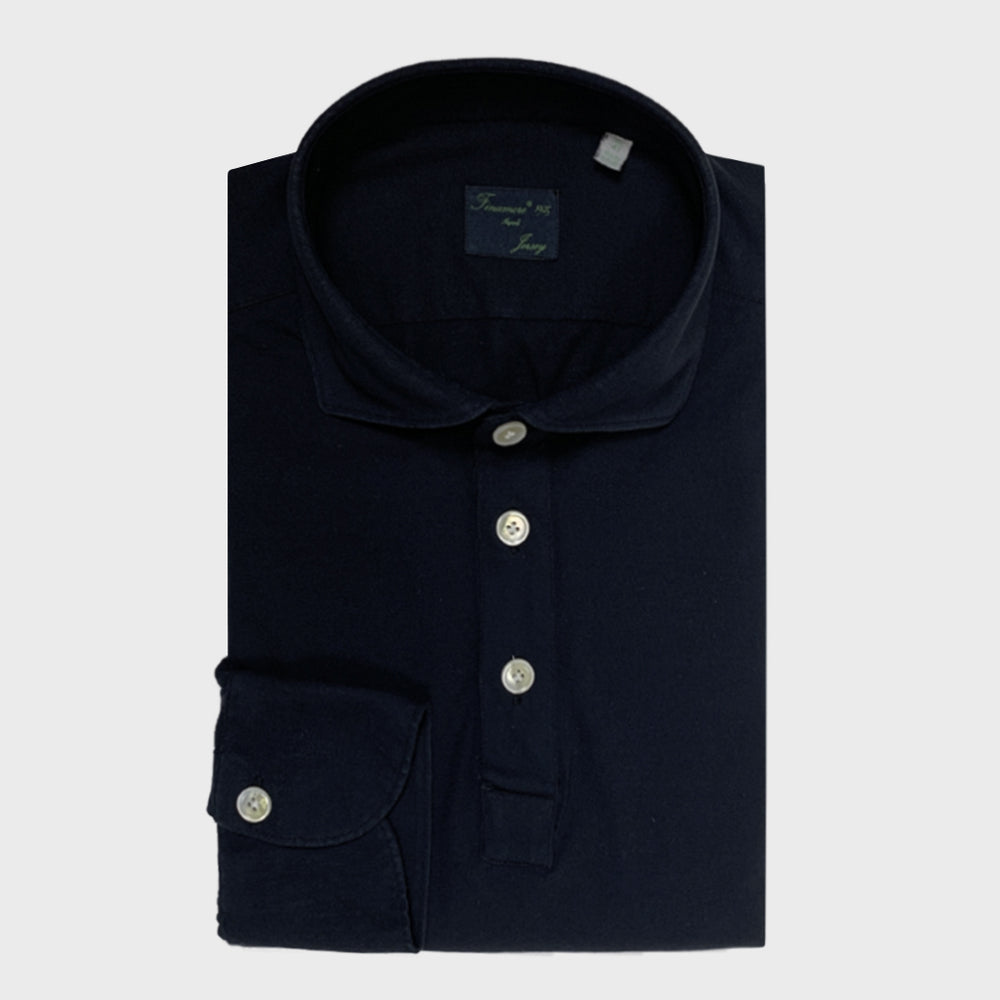 Finamore Jersey Cotton Polo Shirt Orlando Blu