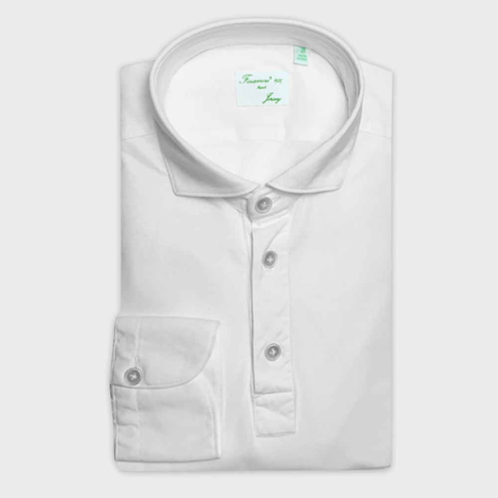 Finamore Jersey Cotton Polo Shirt Achille White