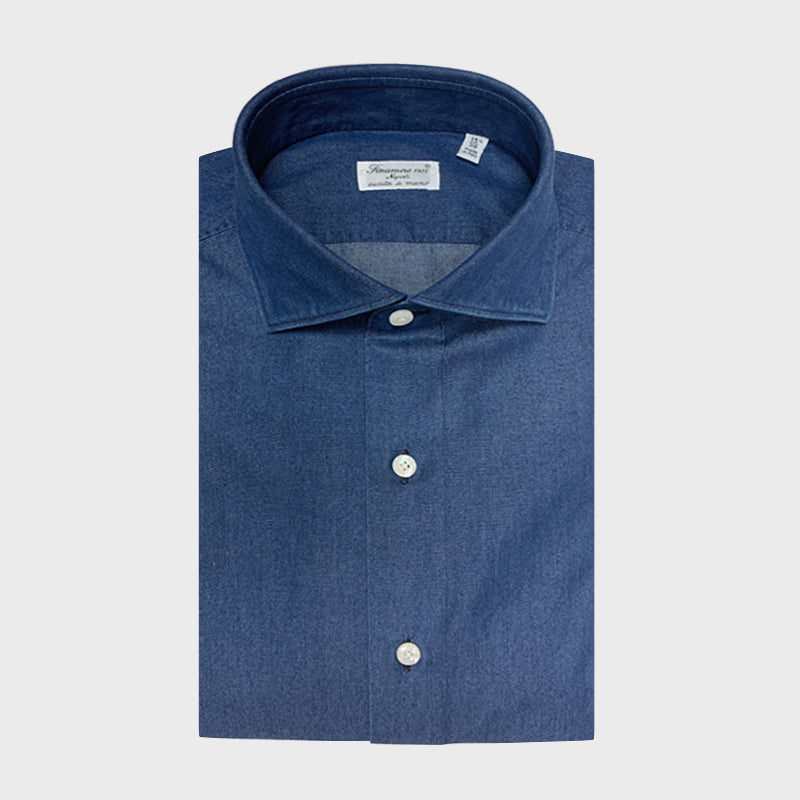 Finamore Men's Denim Shirt | Dark Blue