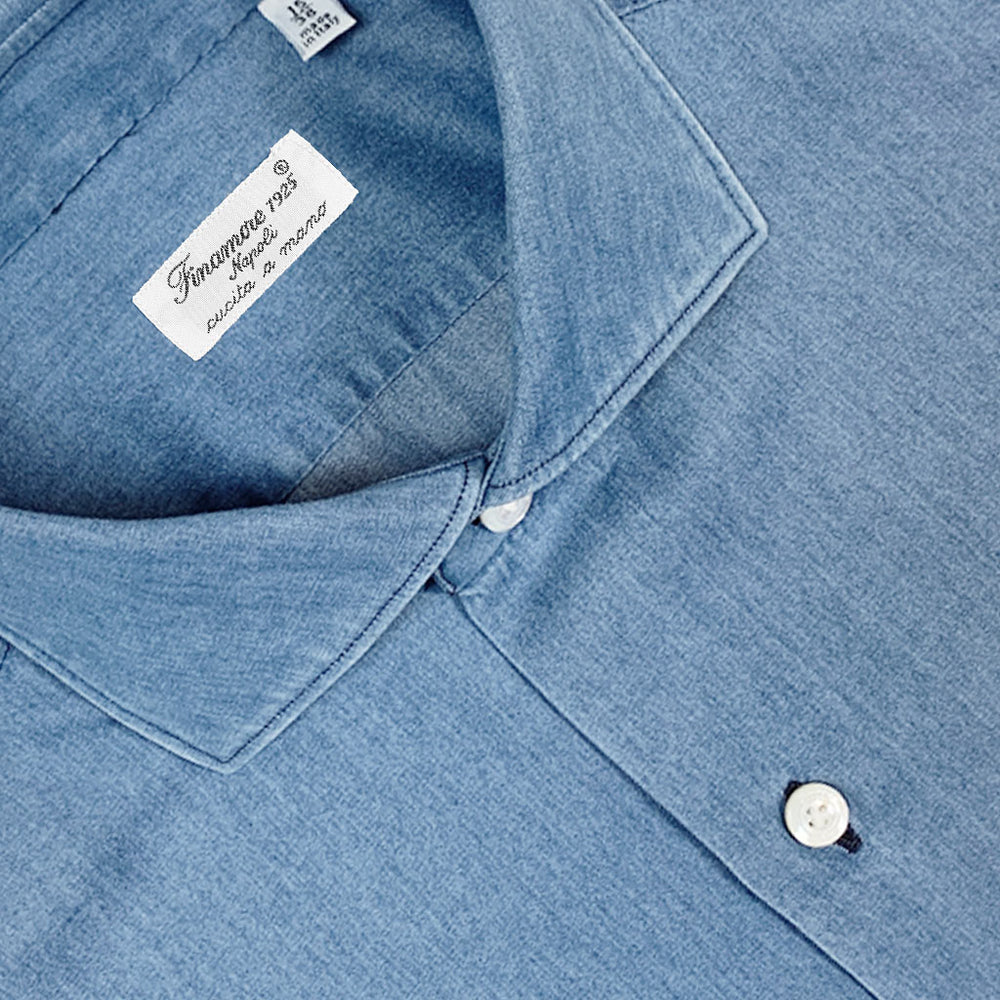 Finamore Men's Denim Shirt | Light Blue