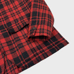 Finamore Men's Wool Red Plaid Shirt Jacket