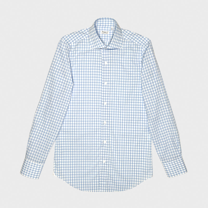 Finamore Men's Shirt Double Twisted Cotton Fabric Checked