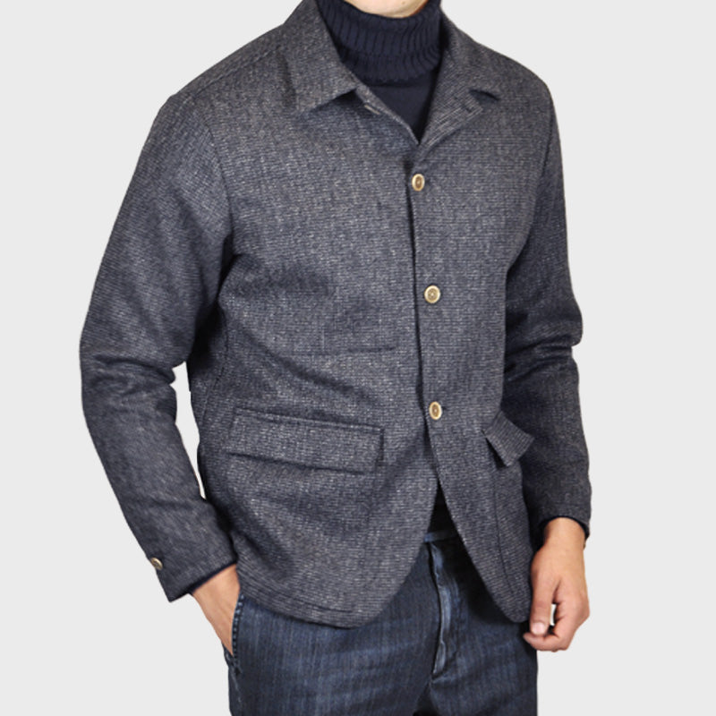 Finamore Men's Wool Shirt Jacket Partridge Eye