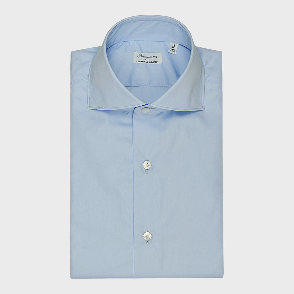 Finamore Men's Two Ply Shirt Cotton Alamo Light Blu