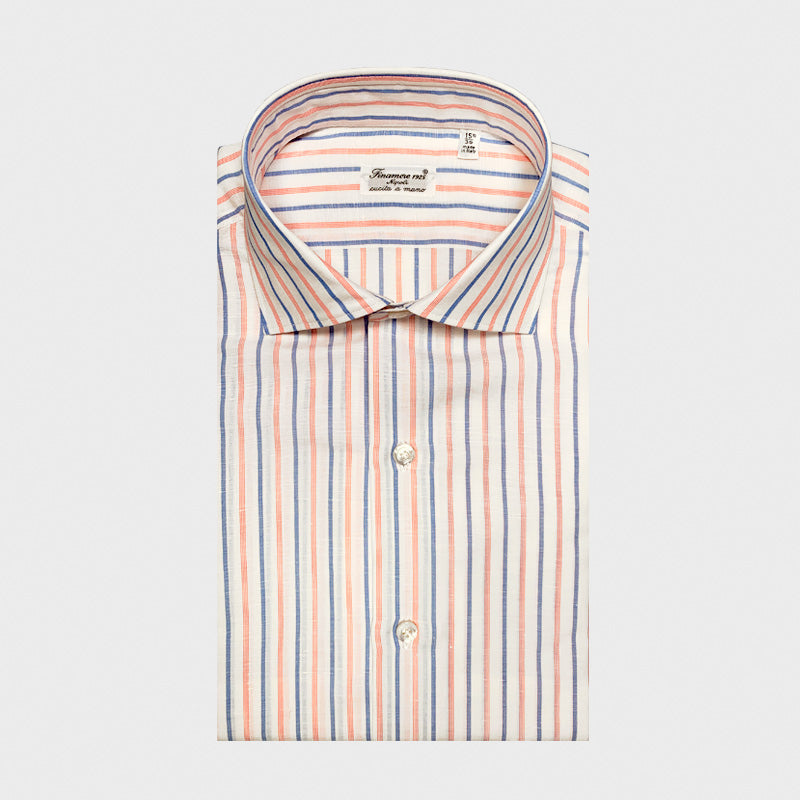 Finamore Napoli Luxury Men's Shirt Carlo Riva Cotton Linen Multi Stripes