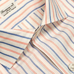 Finamore Luxury Men's Shirt Carlo Riva Cotton Linen Blue Coral