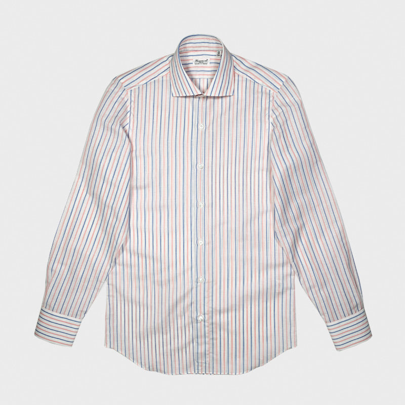 Finamore Luxury Men's Shirt Carlo Riva Cotton Linen Multi Stripes