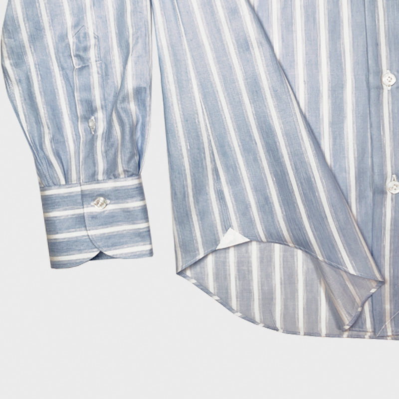 Finamore Luxury Men's Shirt Carlo Riva Cotton Linen Stripes
