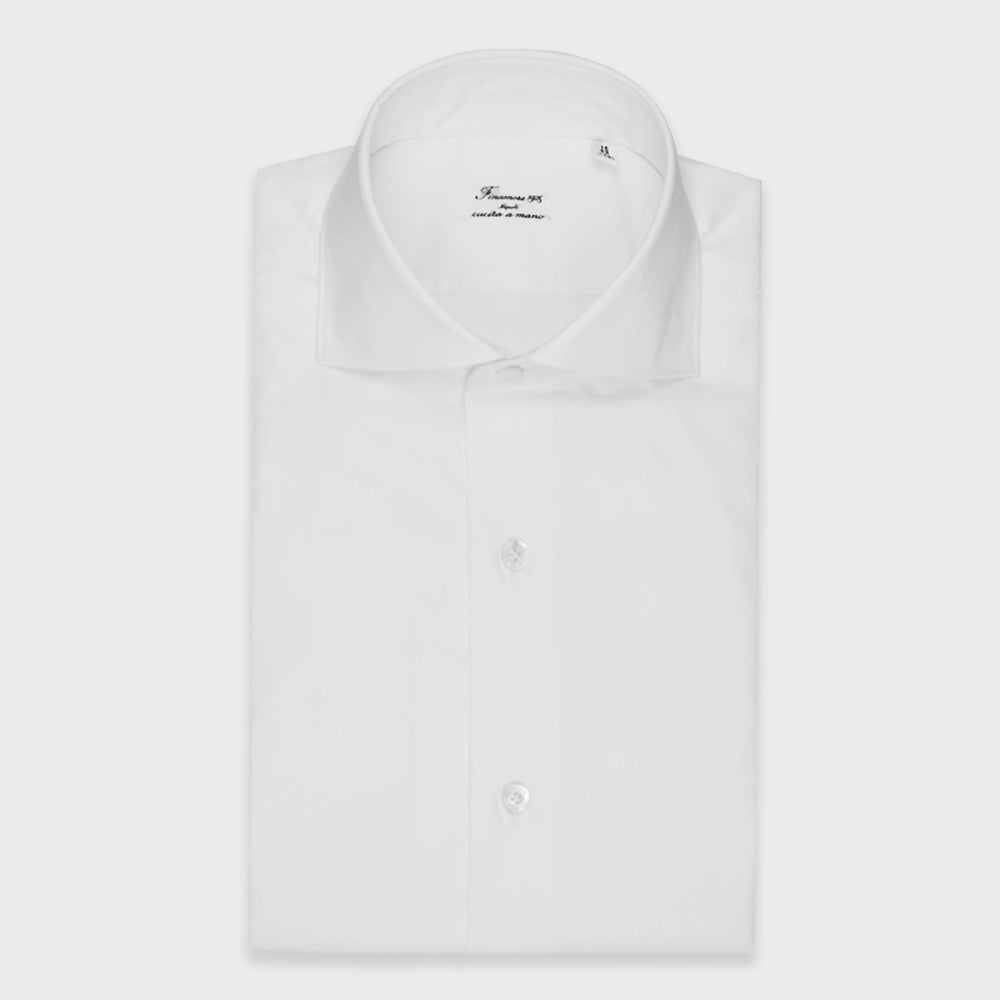 Finamore Men's Two Ply Shirt Cotton | White
