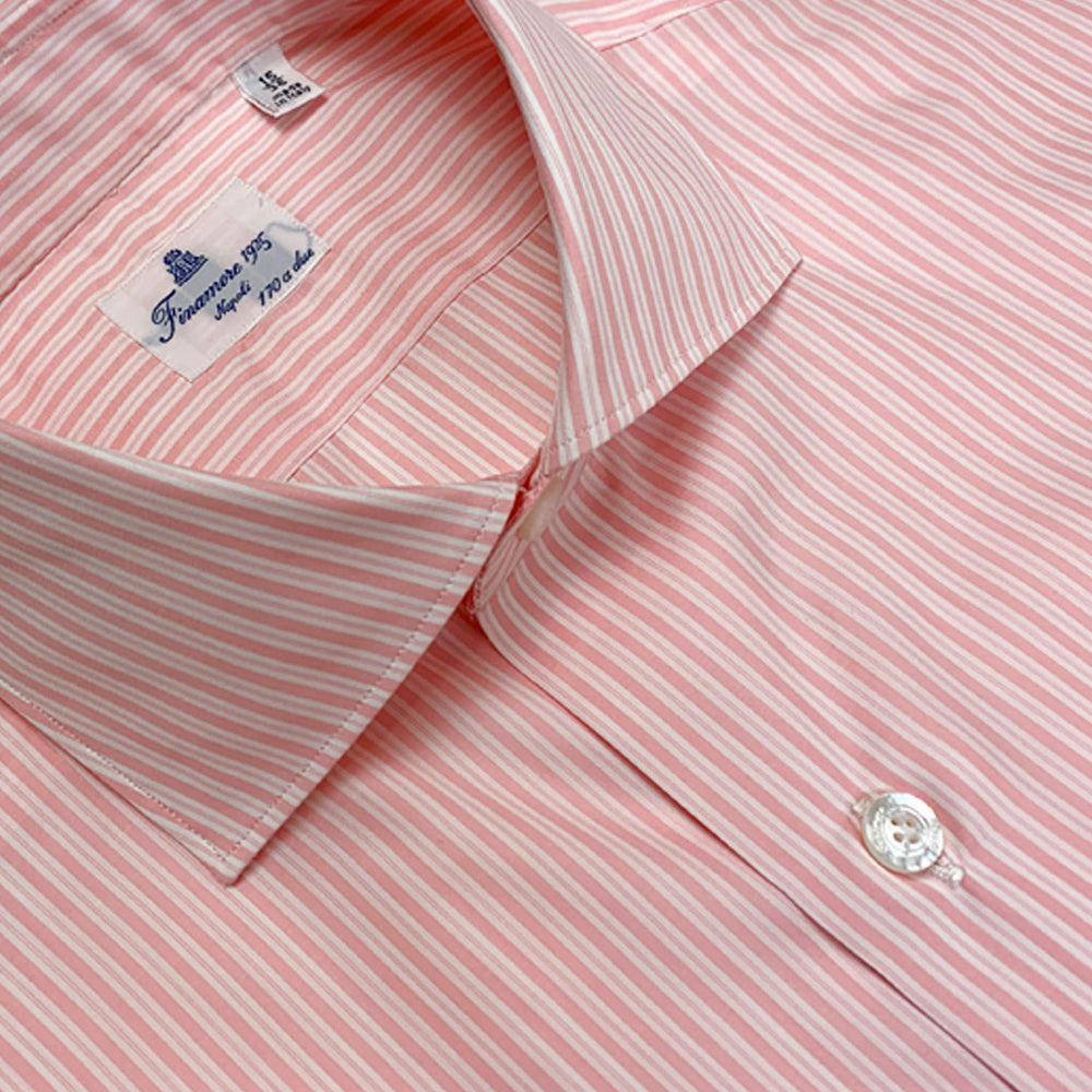 Finamore Men's Shirt Popeline Cotton Pink Stripes