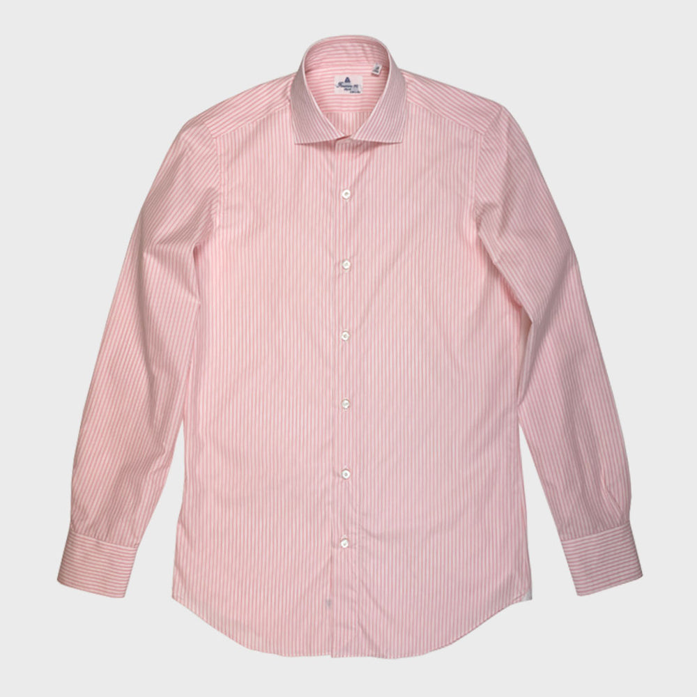 Finamore Men's Multi Stripe Shirt Cotton | Pink