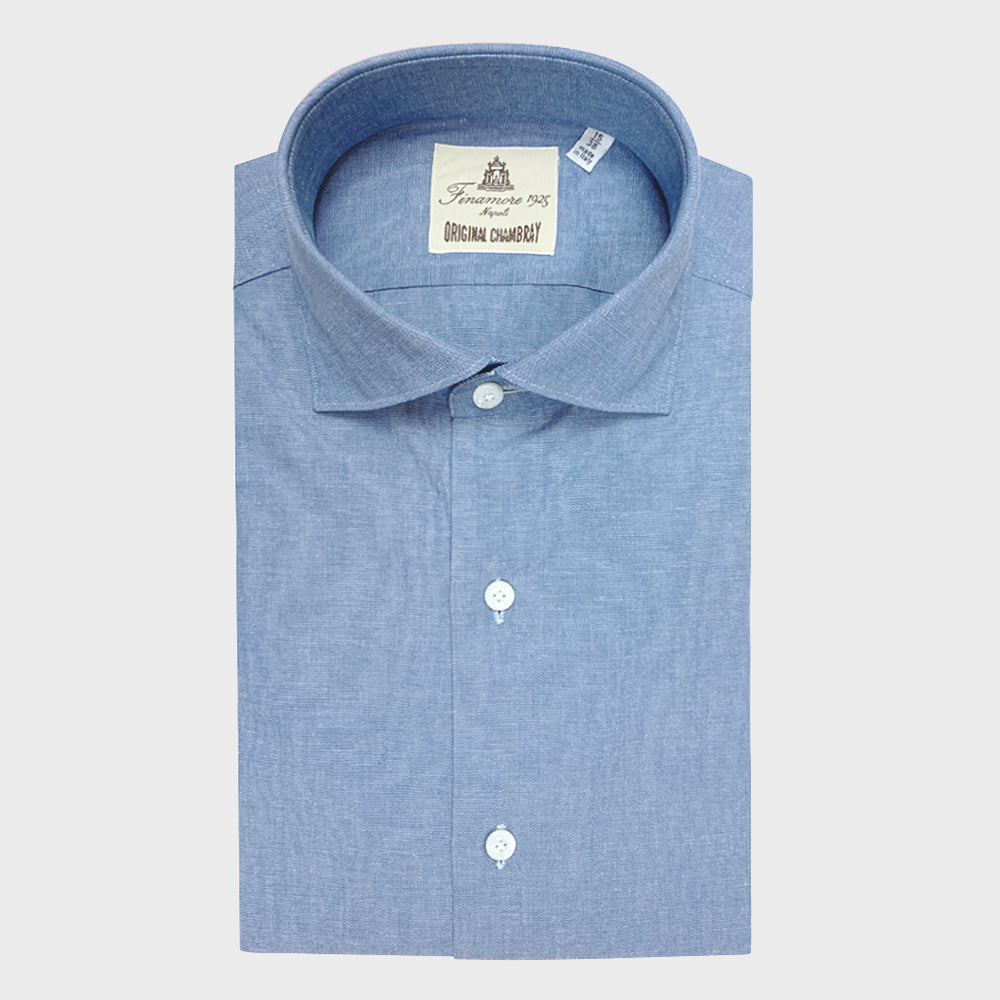 Finamore Men's Shirt Chambray Cotton Light Blu