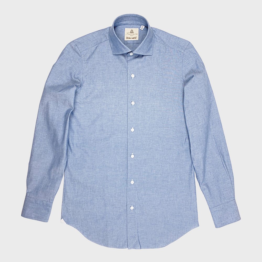 Finamore Men's Shirt Chambray Cotton | Light Blue