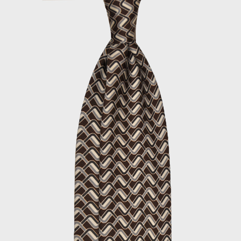 F.Marino Handmade Silk Tie 3-Fold Optical Brown