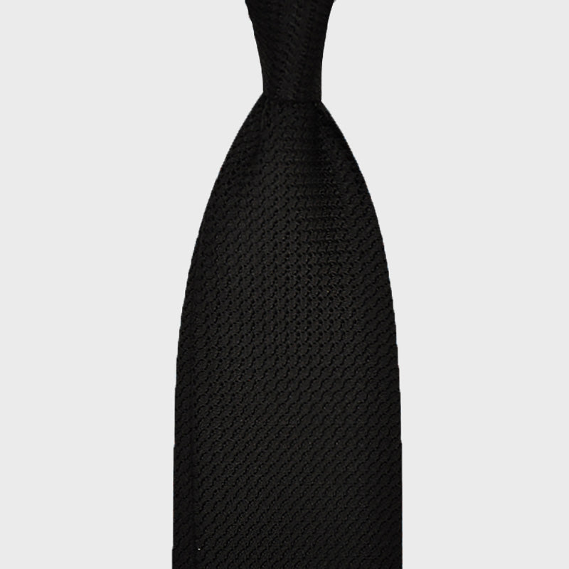F.Marino Handmade Tie 3-Fold Wide Knitted Grenadine Silk | Black
