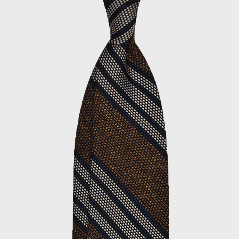 F.Marino Handmade Tie 3-Fold Regimental Grenadine Silk Brown