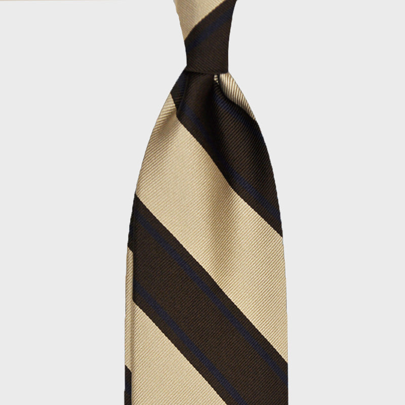 F.Marino Handmade Tie 3-Fold Regimental Jacquard Silk | Brown Rails