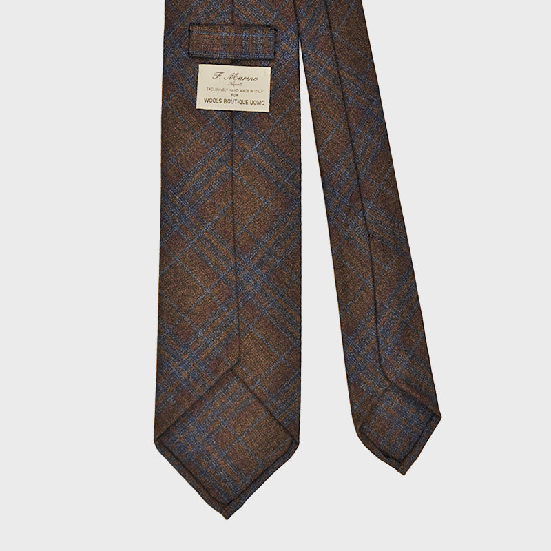 F.Marino Handmade Tie 3-Fold Linen Silk Prince of Galles | Brown