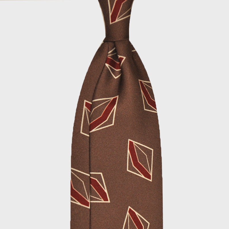 F.Marino Handmade Silk Tie 3-Fold Fantasy Geometry Brown Copper
