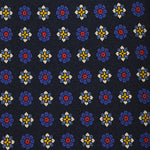 F.Marino Handmade Silk Tie 3-Fold Diamonds and Flowers | Blu
